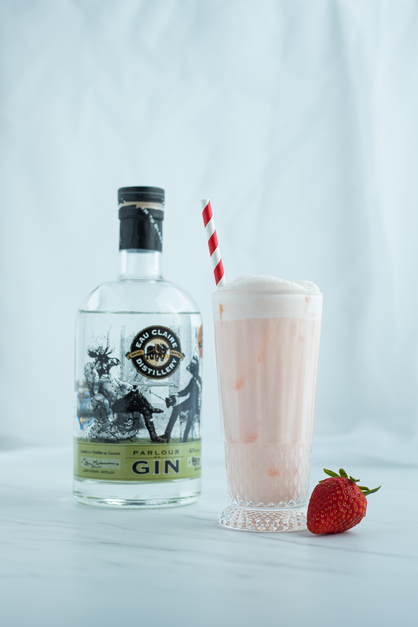 Strawberry Rose Water Gin Fizz