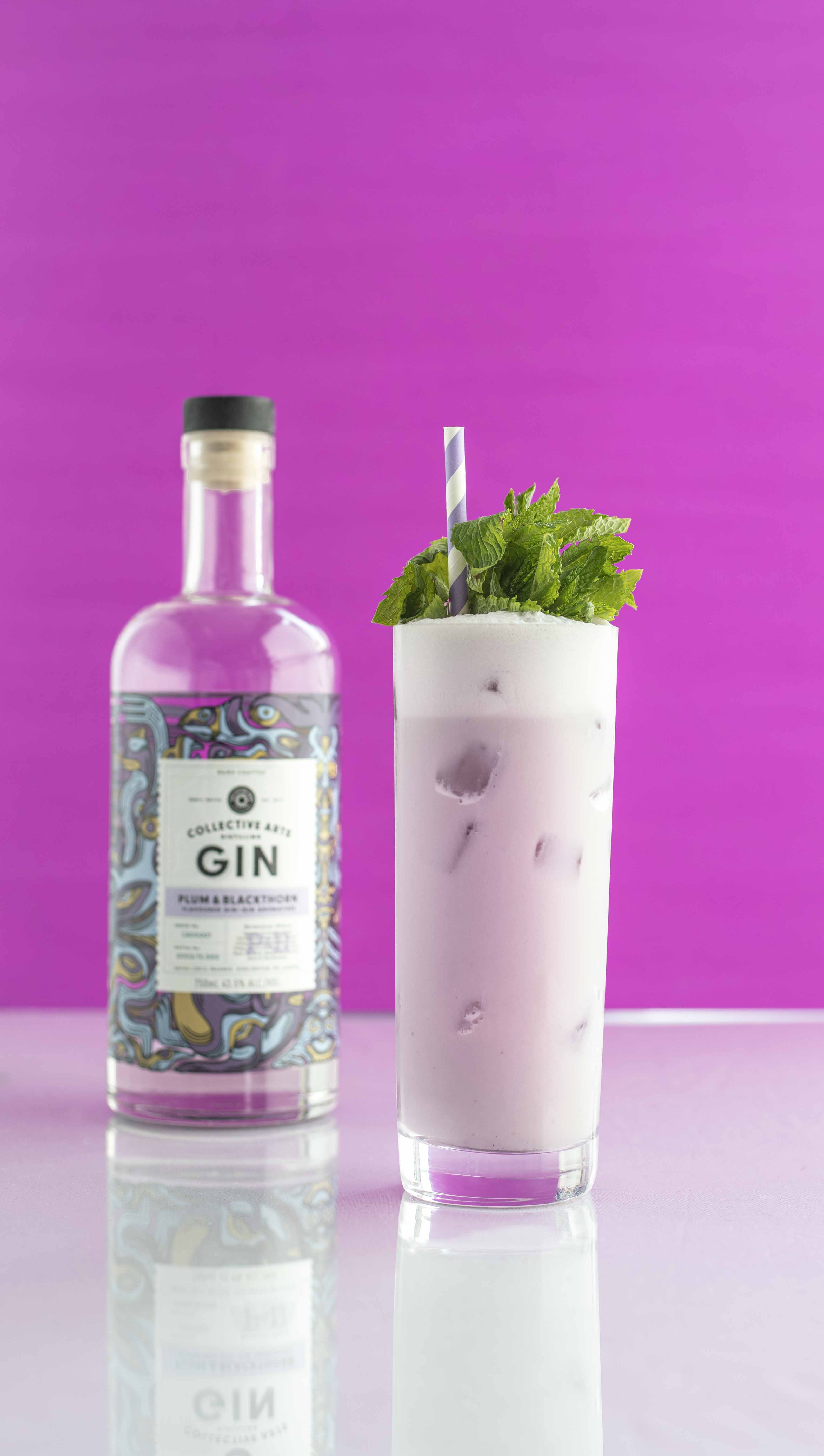 Fizzy Plum – Ramos Gin Fizz with Collective Art's Plum Blackthorn Gin