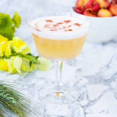 Chamomile and Rainier Cherry Gin Sour
