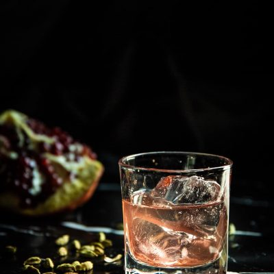 Clarified Pomegranate Nutmeg Sour Cocktail